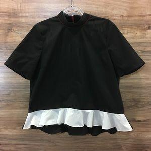 ZARA Black/Red Plaid Peplum Top/Shirt/Blouse New